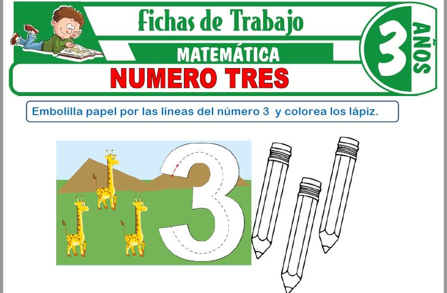 Modelos de la Ficha de Número tres para Niños de Tres Años