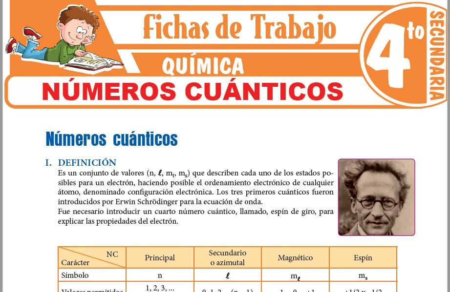 Modelos de la Ficha de Números cuánticos para Cuarto de Secundaria