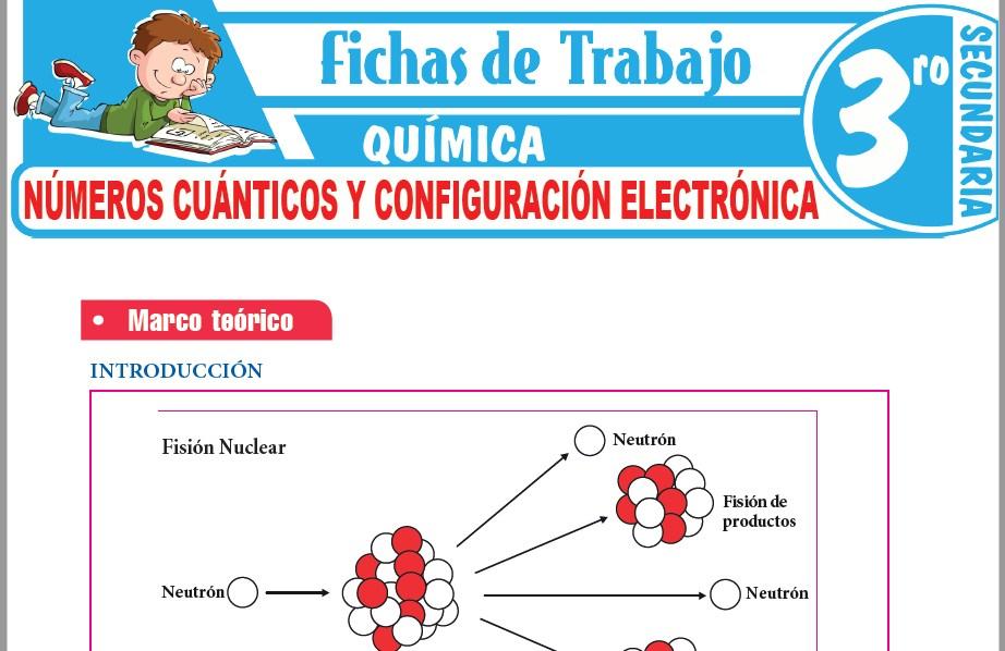 Modelos de la Ficha de Números cuánticos y configuración electrónica para Tercero de Secundaria