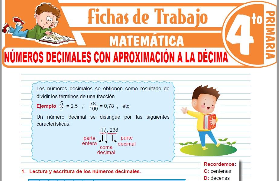 Modelos de la Ficha de Números decimales con aproximación a la décima para Cuarto de Primaria
