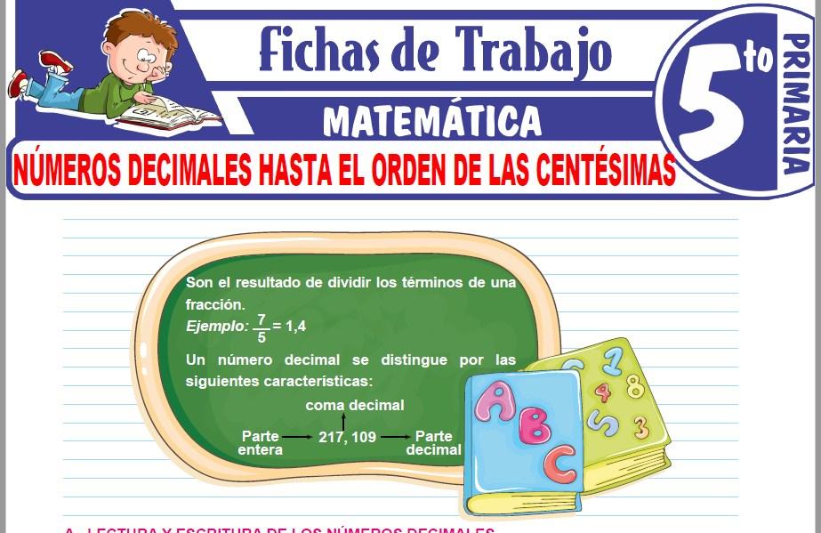 Modelos de la Ficha de Números decimales hasta el orden de las centésimas para Quinto de Primaria