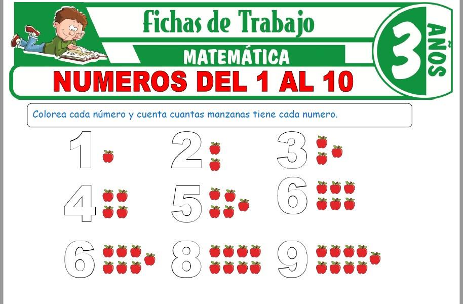 Modelos de la Ficha de Números del 1 al 10 para Niños de Tres Años