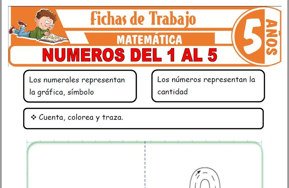 Modelos de la Ficha de Números del 1 al 5 para Niños de Cinco Años
