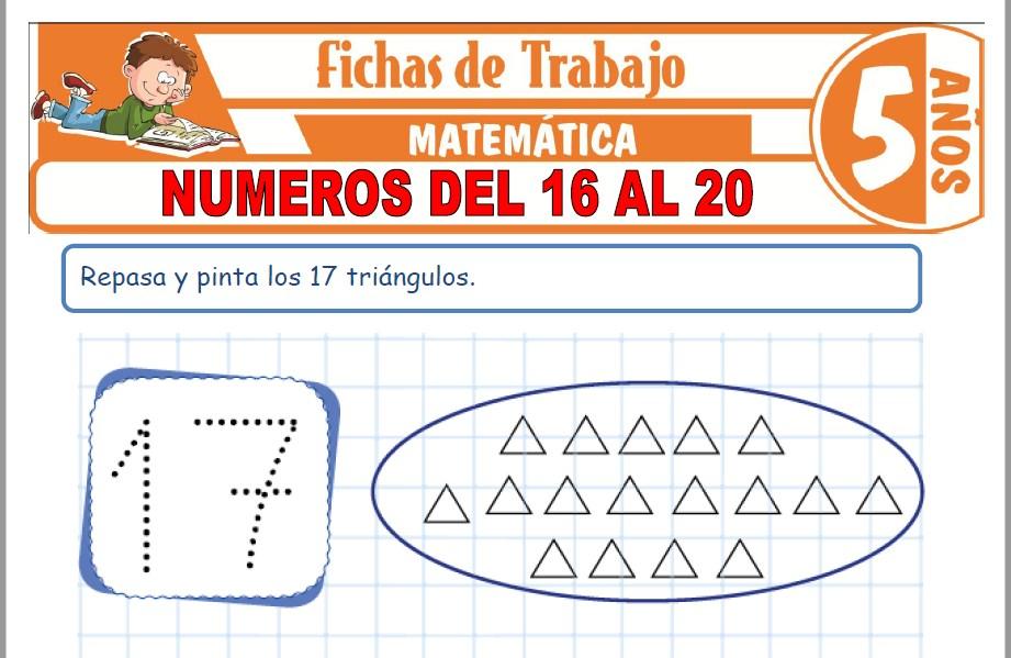 Modelos de la Ficha de Números del 16 al 20 para Niños de Cinco Años