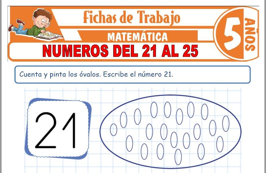 Modelos de la Ficha de Números del 21 al 25 para Niños de Cinco Años