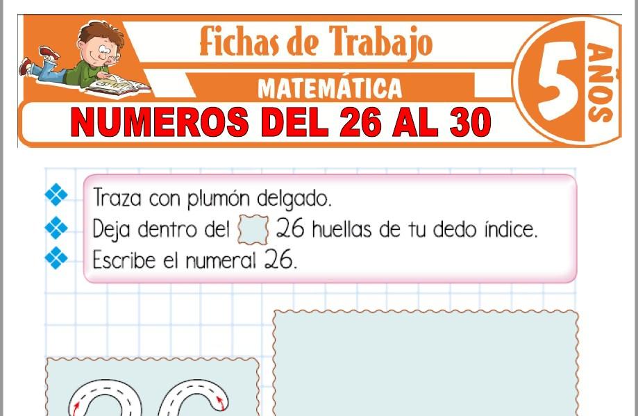 Modelos de la Ficha de Números del 26 al 30 para Niños de Cinco Años