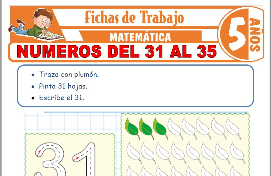 Modelos de la Ficha de Números del 31 al 35 para Niños de Cinco Años