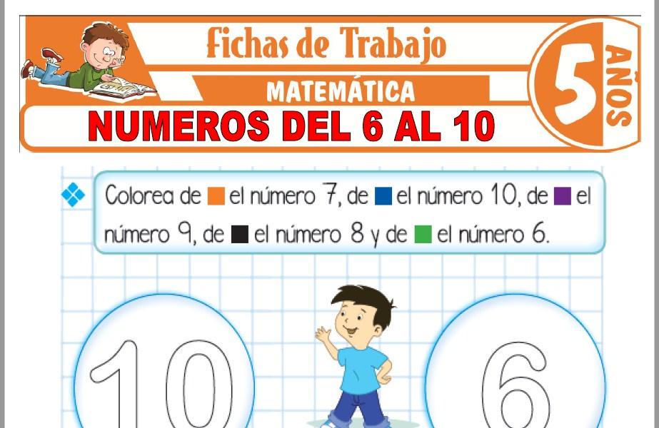 Modelos de la Ficha de Números del 6 al 10 para Niños de Cinco Años