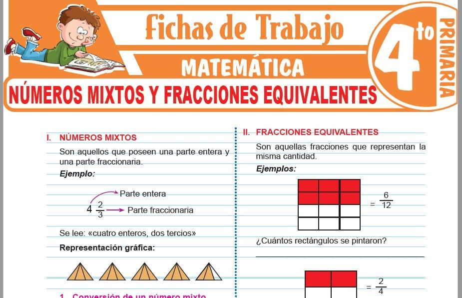 Modelos de la Ficha de Números mixtos y fracciones equivalentes para Cuarto de Primaria