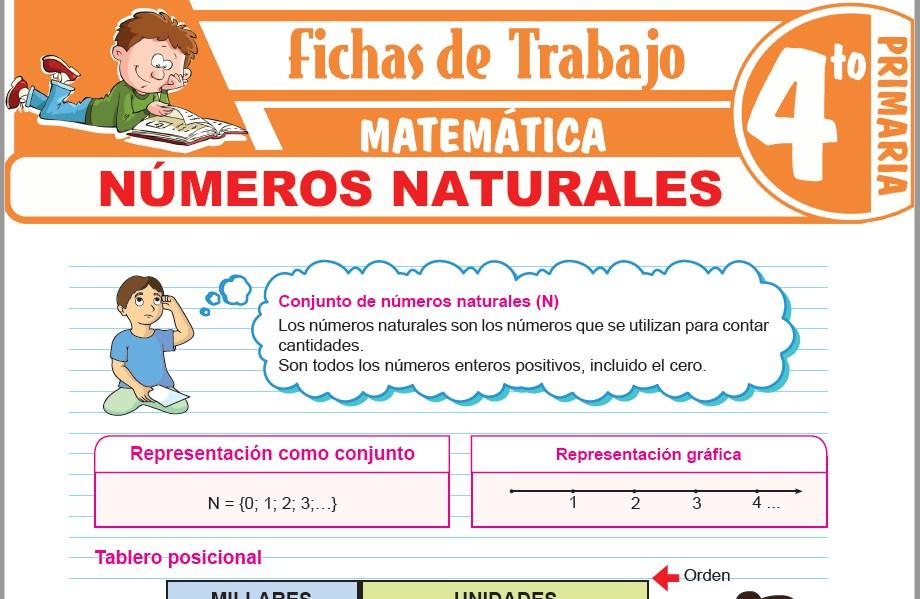 Modelos de la Ficha de Números naturales para Cuarto de Primaria