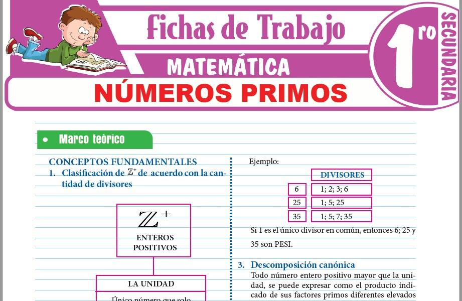 Modelos de la Ficha de Números primos para Primero de Secundaria