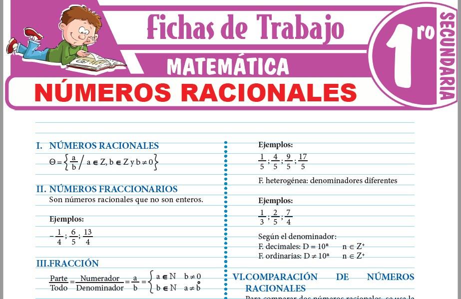 Modelos de la Ficha de Números Racionales para Primero de Secundaria