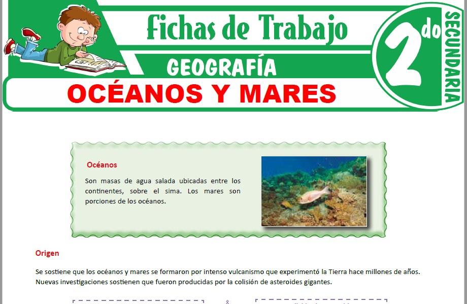 Modelos de la Ficha de Océanos y mares para Segundo de Secundaria