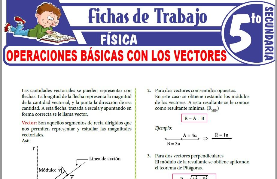 Modelos de la Ficha de Operaciones Básicas con los Vectores para Quinto de Secundaria