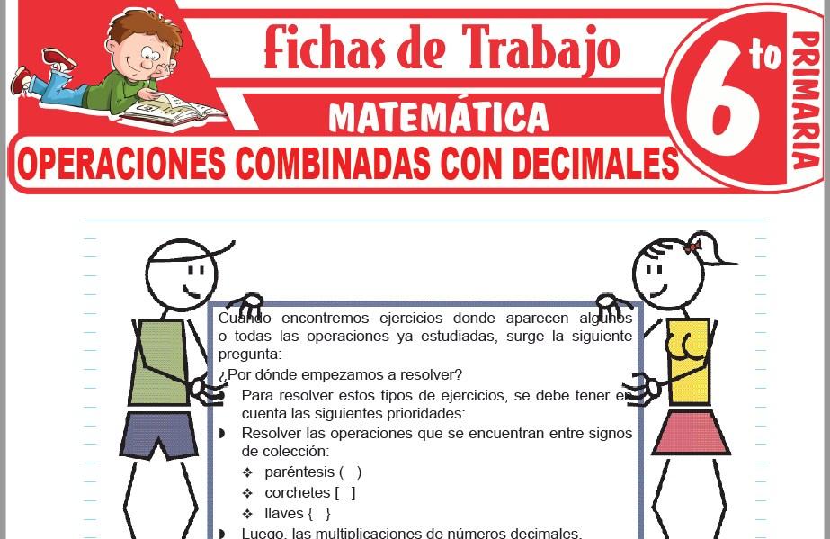 Modelos de la Ficha de Operaciones combinadas con decimales para Sexto de Primaria