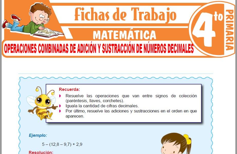 Modelos de la Ficha de Operaciones combinadas de adición y sustracción de números decimales para Cuarto de Primaria