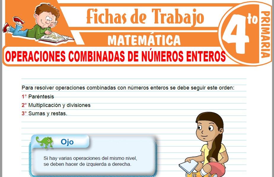 Modelos de la Ficha de Operaciones combinadas de números enteros para Cuarto de Primaria