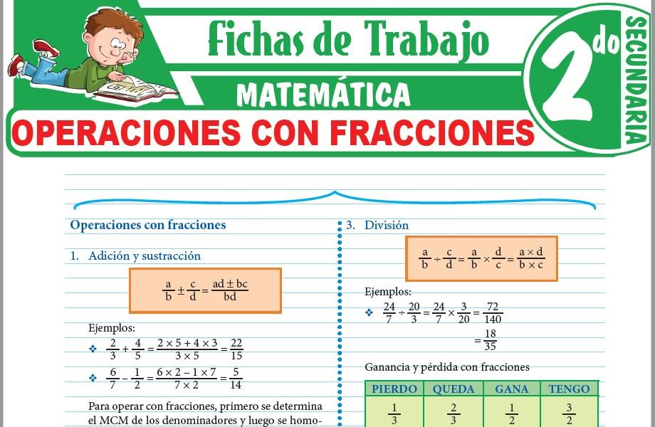 Modelos de la Ficha de Operaciones con fracciones para Segundo de Secundaria