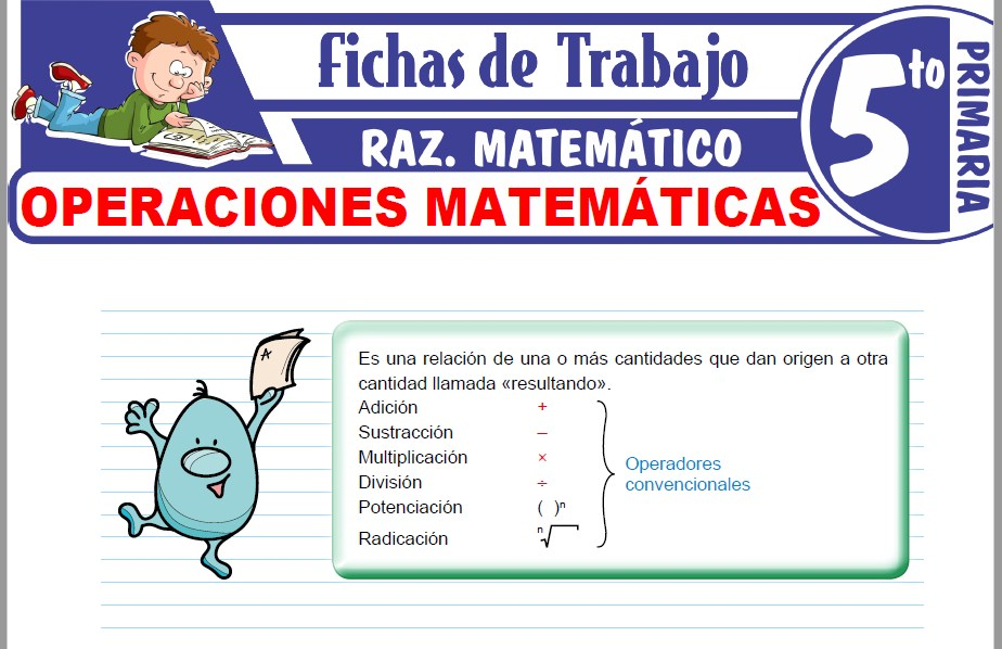 Modelos de la Ficha de Operaciones matemáticas para Quinto de Primaria