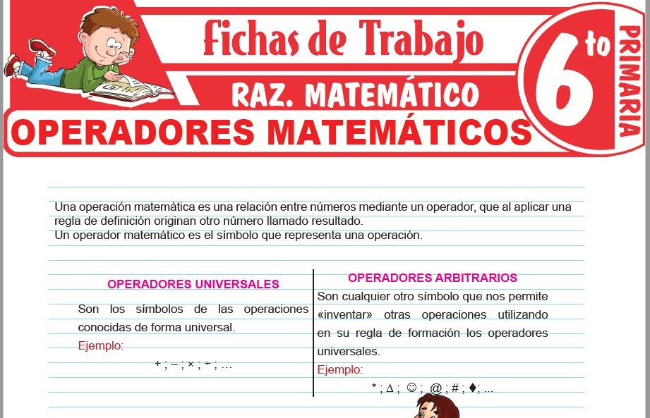 Modelos de la Ficha de Operadores matemáticos para Sexto de Primaria