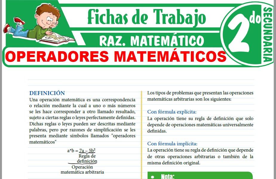 Modelos de la Ficha de Operadores matemáticos para Segundo de Secundaria