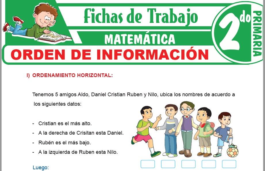 Modelos de la Ficha de Orden de información para Segundo de Primaria