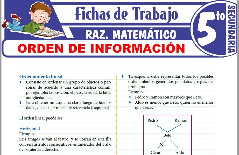 Modelos de la Ficha de Orden de información para Quinto de Secundaria