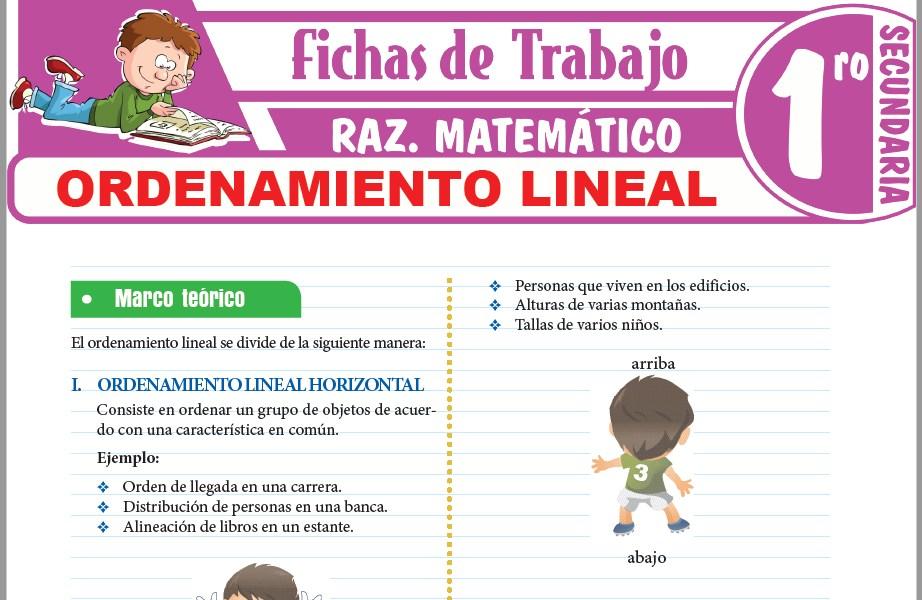 Modelos de la Ficha de Ordenamiento lineal para Primero de Secundaria