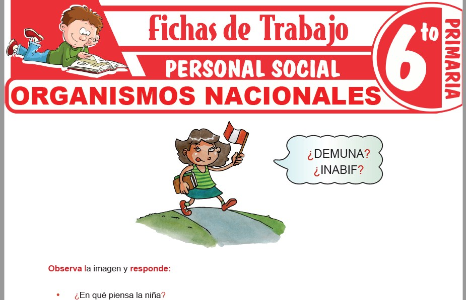 Modelos de la Ficha de Organismos Nacionales para Sexto de Primaria
