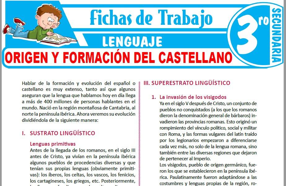 Modelos de la Ficha de Origen y formación del castellano para Tercero de Secundaria