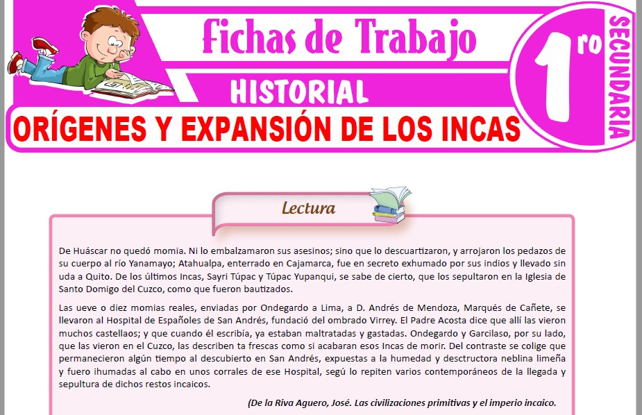 Modelos de la Ficha de Orígenes y expansión de los Incas para Primero de Secundaria