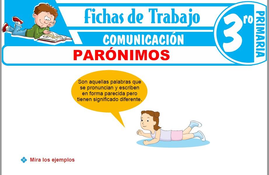 Modelos de la Ficha de Parónimos para Tercero de Primaria