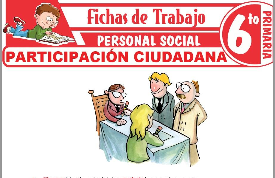 Modelos de la Ficha de Participación ciudadana para Sexto de Primaria
