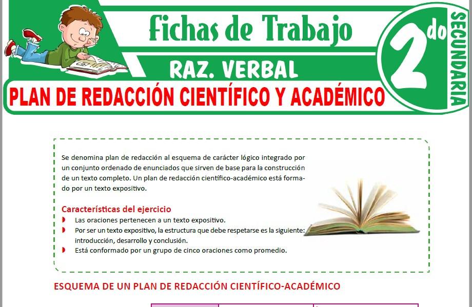 Modelos de la Ficha de Plan de redacción científico y académico para Segundo de Secundaria