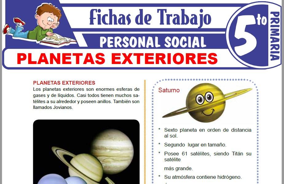 Modelos de la Ficha de Planetas exteriores para Quinto de Primaria