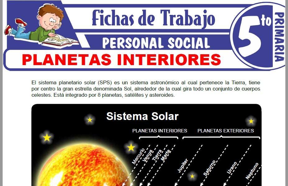Modelos de la Ficha de Planetas interiores para Quinto de Primaria