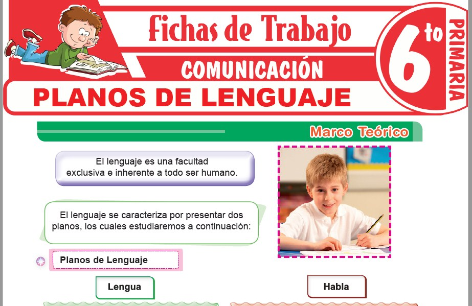 Modelos de la Ficha de Planos de lenguaje para Sexto de Primaria