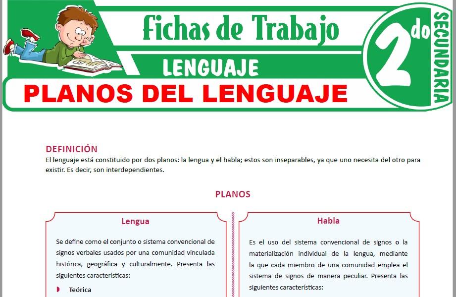Modelos de la Ficha de Planos del lenguaje para Segundo de Secundaria