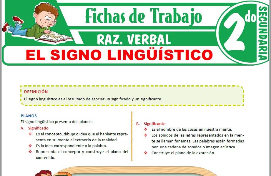 Modelos de la Ficha de Planos y características del signo lingüístico para Segundo de Secundaria