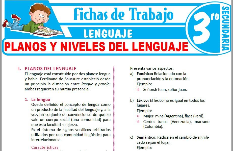Modelos de la Ficha de Planos y niveles del lenguaje para Tercero de Secundaria