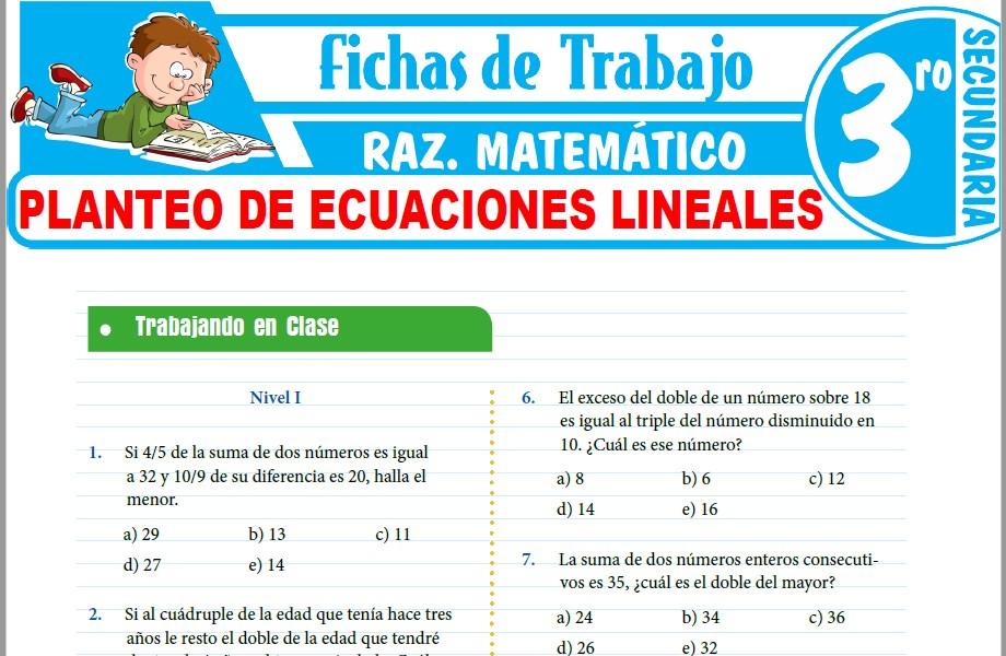 Modelos de la Ficha de Planteo de ecuaciones lineales para Tercero de Secundaria