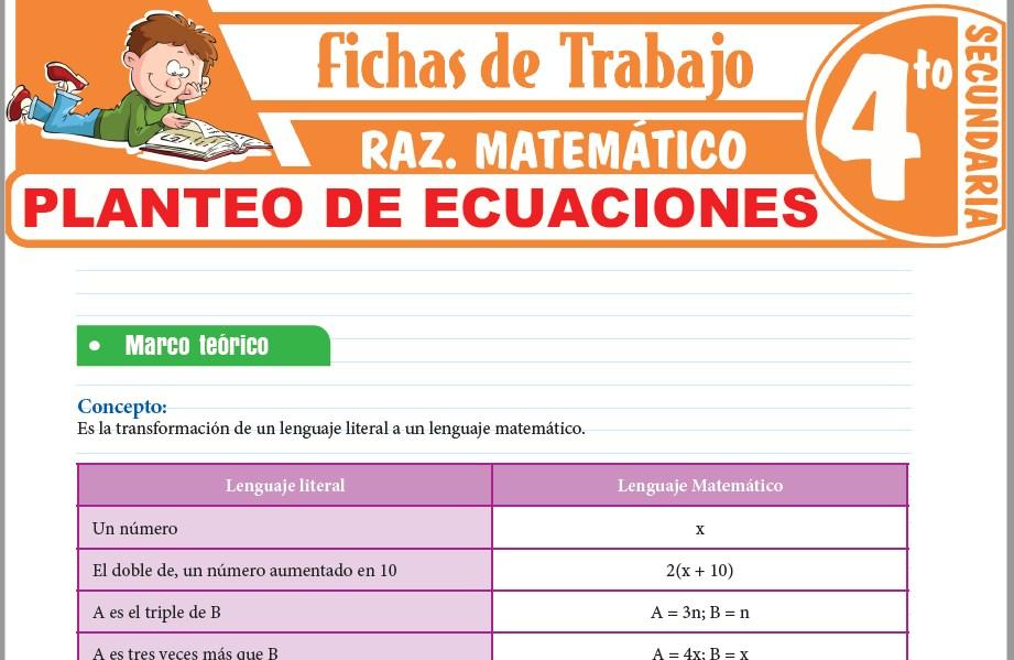 Modelos de la Ficha de Planteo de ecuaciones para Cuarto de Secundaria