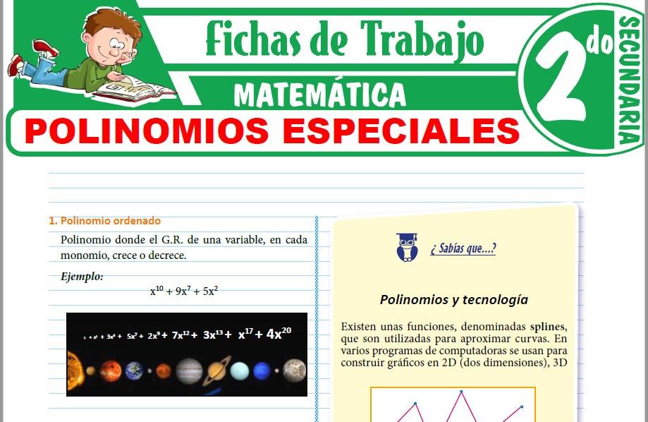 Modelos de la Ficha de Polinomios especiales para Segundo de Secundaria