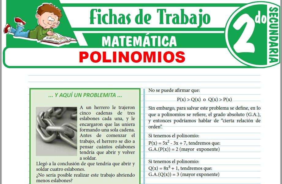 Modelos de la Ficha de Polinomios para Segundo de Secundaria