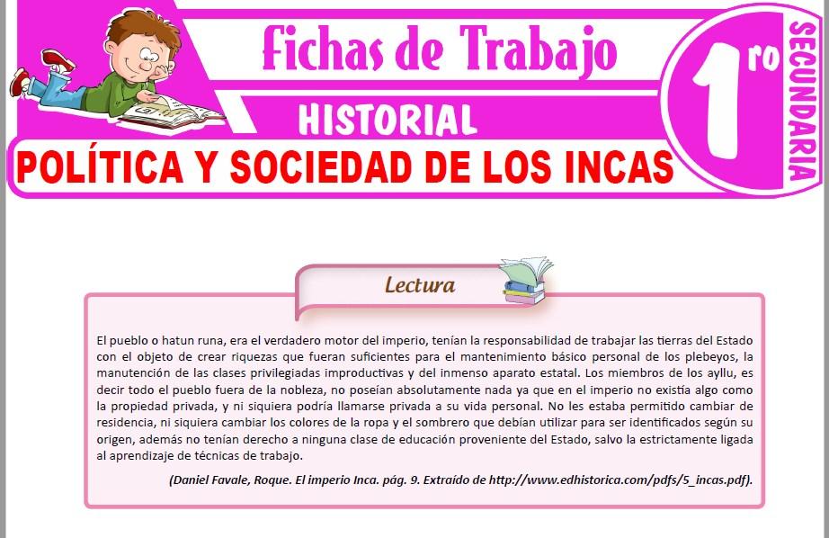 Modelos de la Ficha de Política y sociedad de los Incas para Primero de Secundaria