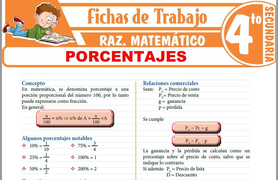Modelos de la Ficha de Porcentajes Ejercicios para Cuarto de Secundaria