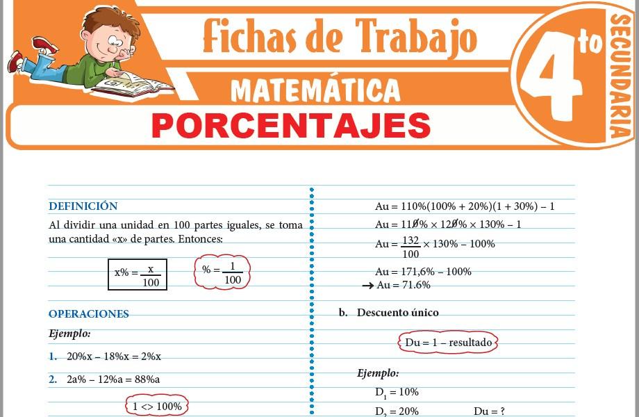 Modelos de la Ficha de Porcentajes para Cuarto de Secundaria