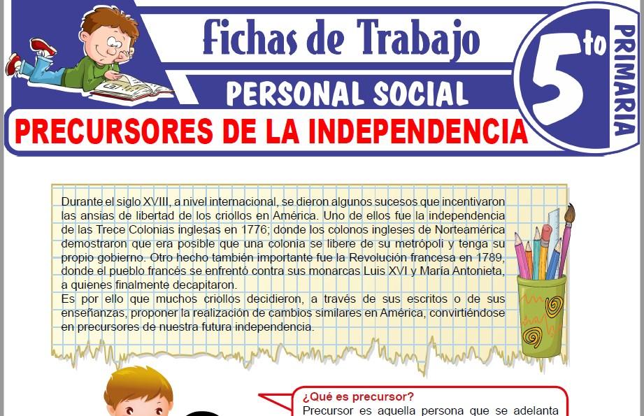 Modelos de la Ficha de Precursores de la Independencia para Quinto de Primaria