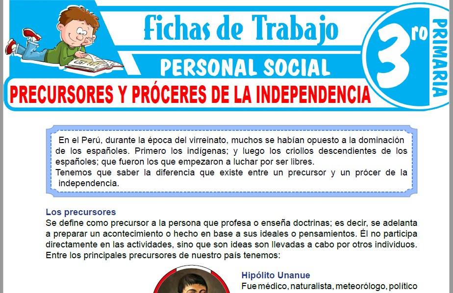 Modelos de la Ficha de Precursores y próceres de la Independencia para Tercero de Primaria