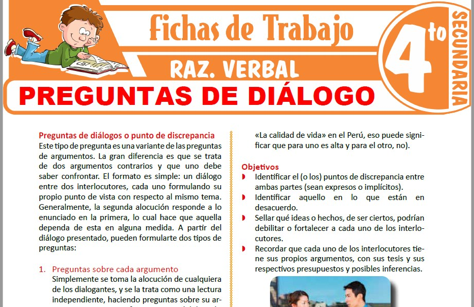 Modelos de la Ficha de Preguntas de diálogo para Cuarto de Secundaria